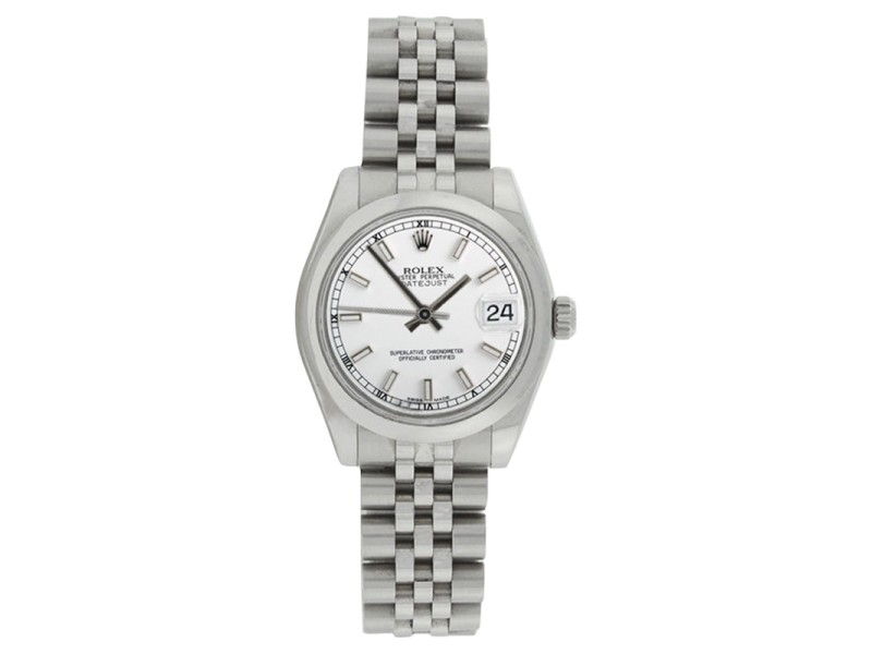 Rolex Midsize Datejust 178240 Stainless Steel Jubilee White Stick Dial 31mm Watch