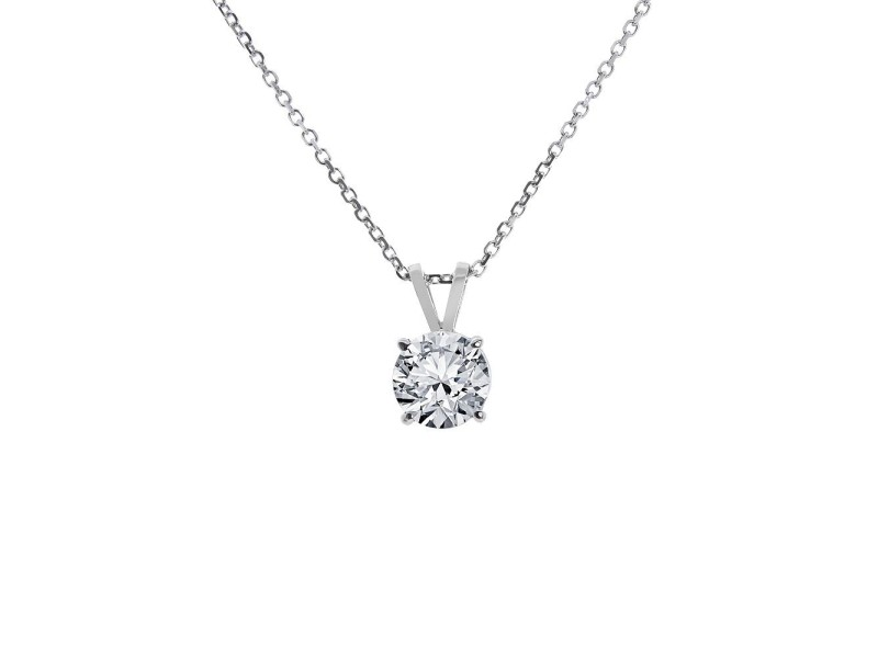 14K White Gold Solitaire Pendant Chain Necklace