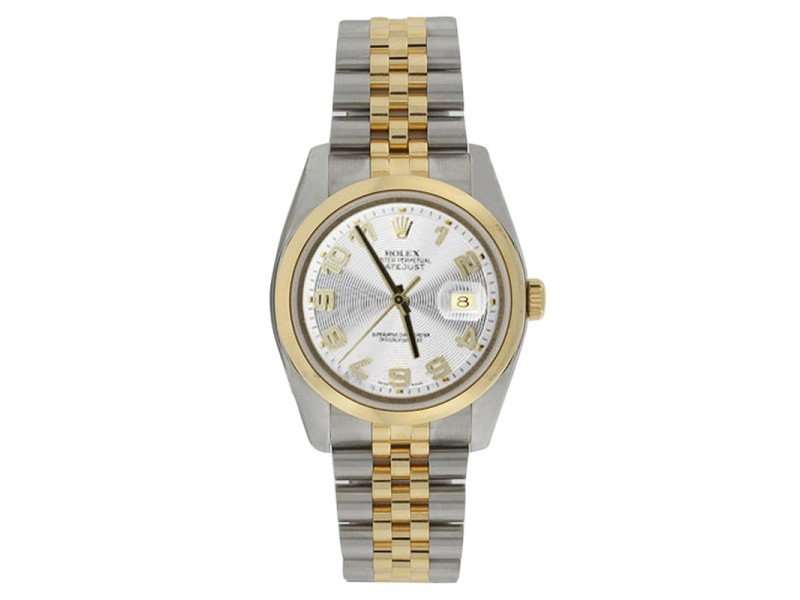 Rolex Datejust 116203 Stainless Steel & 18K Gold Silver Concentric Mens Watch