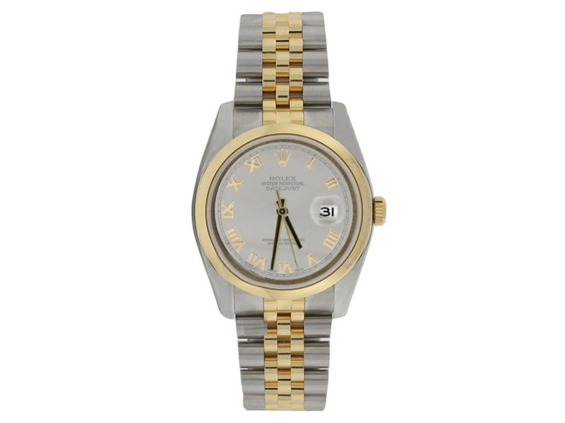 Rolex Datejust 116203 Stainless Steel & 18K Gold Slate Roman Dial Mens Watch