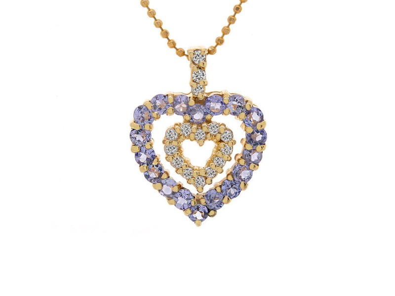 14K Yellow Gold Tanzanite Diamond Heart Pendant Necklace