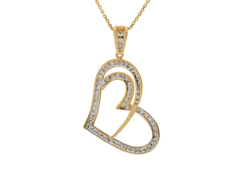 14K Yellow Gold Brilliant Round Diamond Heart Pendant Necklace