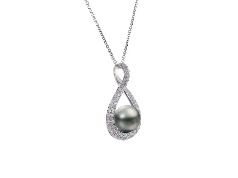 14K White Gold Diamond Pearl Pendant