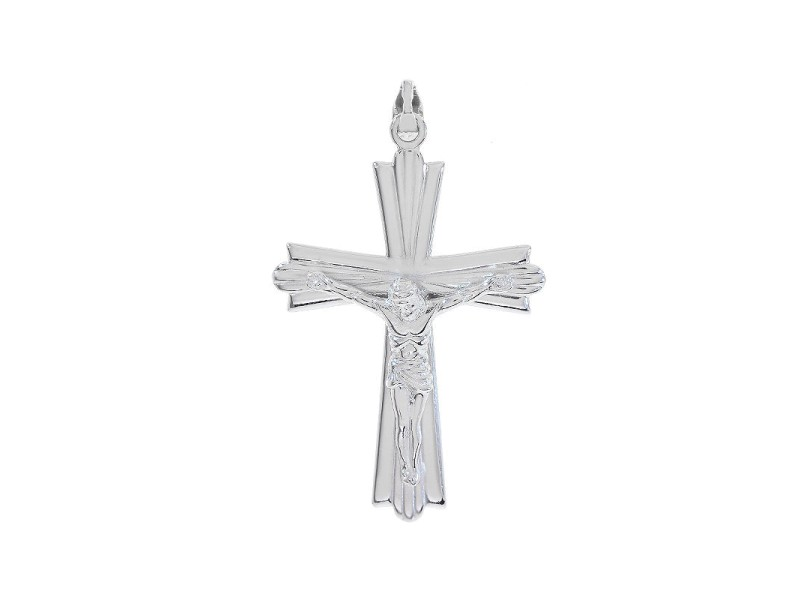 14K White Gold Jesus Crucifix Cross Pendant