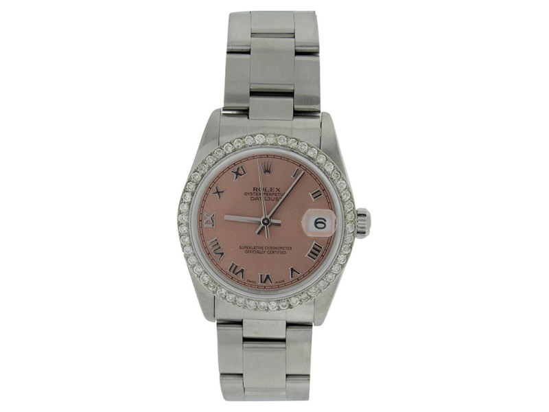 Rolex Datejust 78240 Stainless Steel Pink Roman Dial & Diamond Bezel Unisex Watch