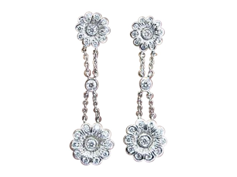 Tiffany & Co. 950 Platinum with 0.59ctw. Diamond Rose Double Drop Earrings