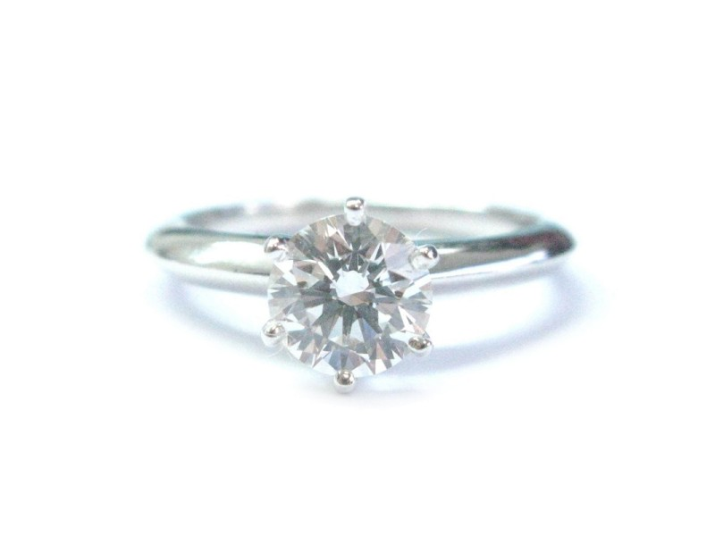 Tiffany & Co. PT950 Platinum with 1.03ct Solitaire Diamond Engagement Ring Size 5.5