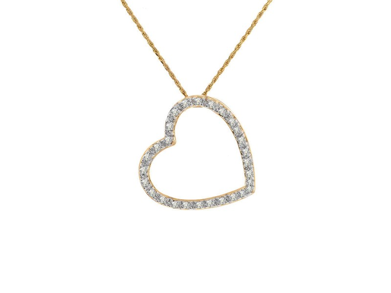 14K Yellow Gold Diamond Heart Pendant