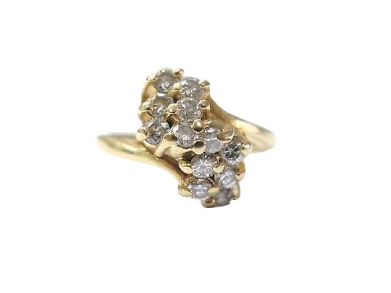 14K Yellow Gold Cluster Diamond Waterfall Ring
