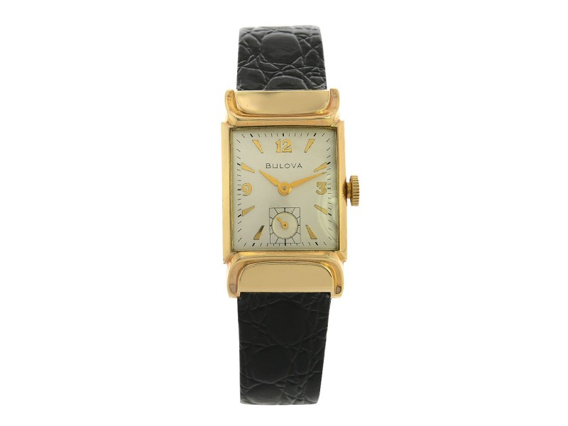 Bulova 10K Gold Case Leather Band Mens Vintage Wrist Watch