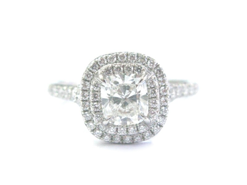b5cf3b0077aa Tiffany   Co. 950 Platinum with Diamond Soleste Engagement Ring Size ...