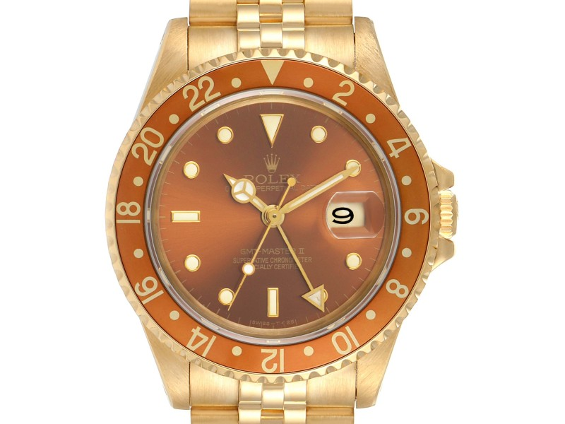 Rolex GMT Master Rootbeer 18K Yellow Gold Vintage Mens Watch 16718