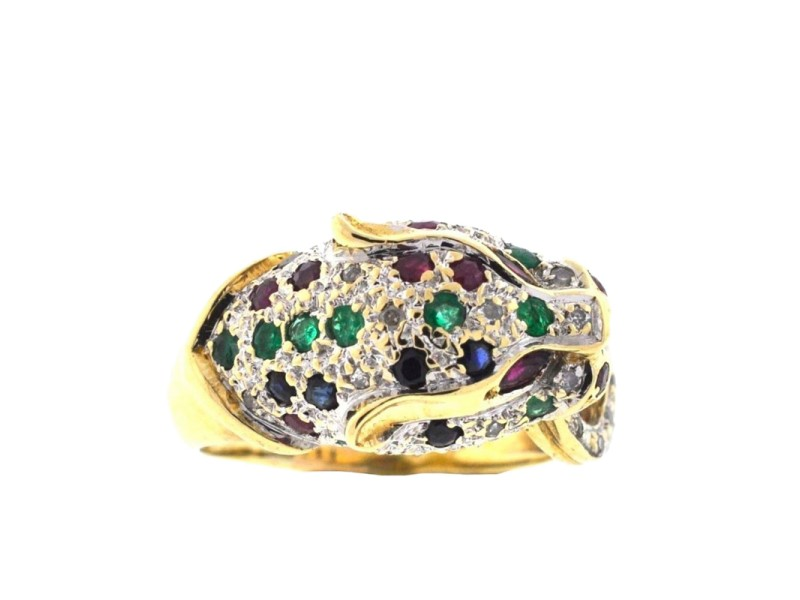 14K Yellow Gold Diamond, Rubies, Emeralds & Sapphires Panther Ring