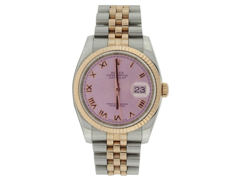 Rolex Datejust 116231 Jubilee Stainless Steel & 18K Rose Gold Pink Roman Gold Bezel Watch