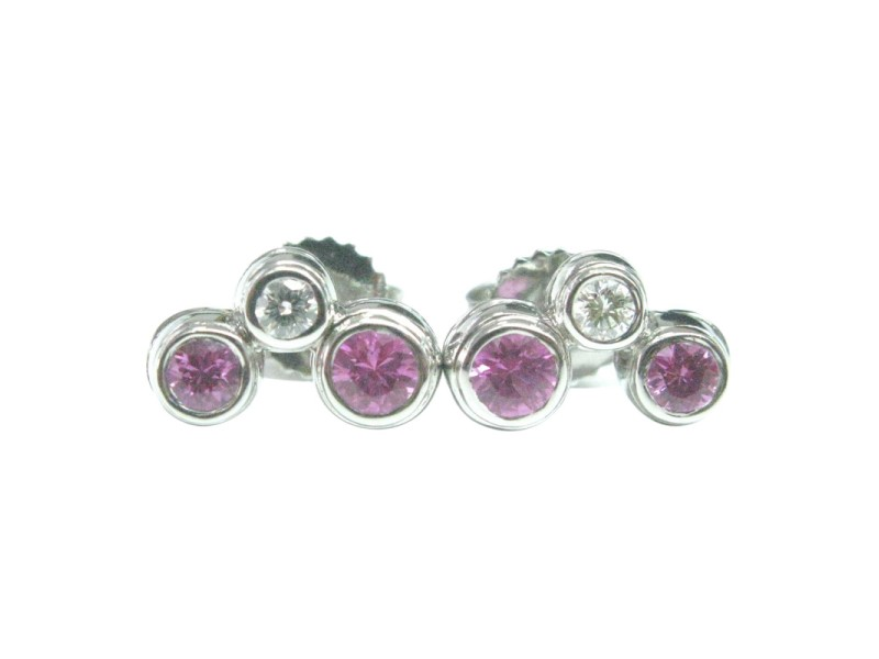 Tiffany & Co. 950 Platinum 0.48ct Pink Sapphire & Diamond Bubble Earrings