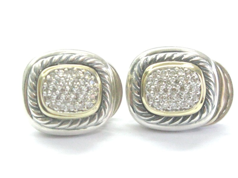 David Yurman Sterling Silver 18K Y/G Diamond Pave Albion Earrings