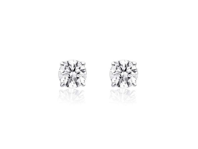 14K White Gold Diamond Solitaire Stud Earrings