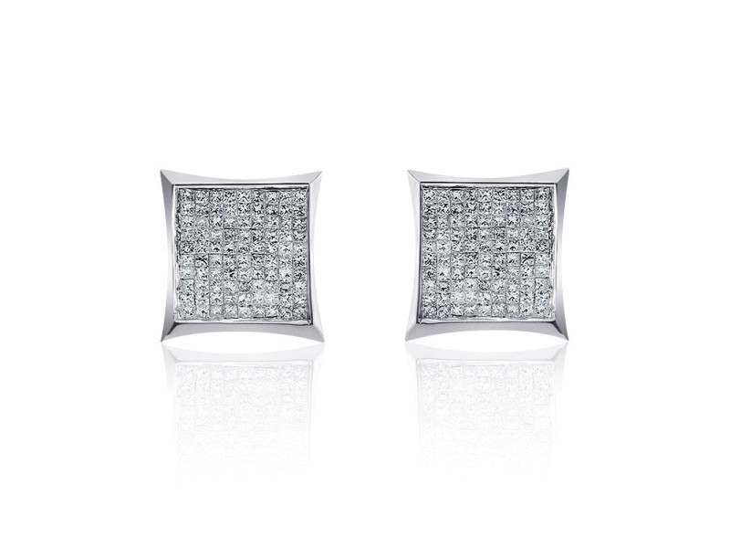 14K White Gold 0.55 Carat Princess Cut Diamond Earrings