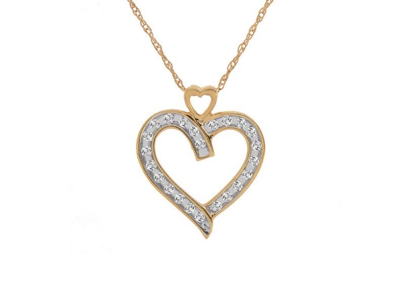 14K Yellow Gold 0.25 ct. Brilliant Diamond Heart Pendant Necklace