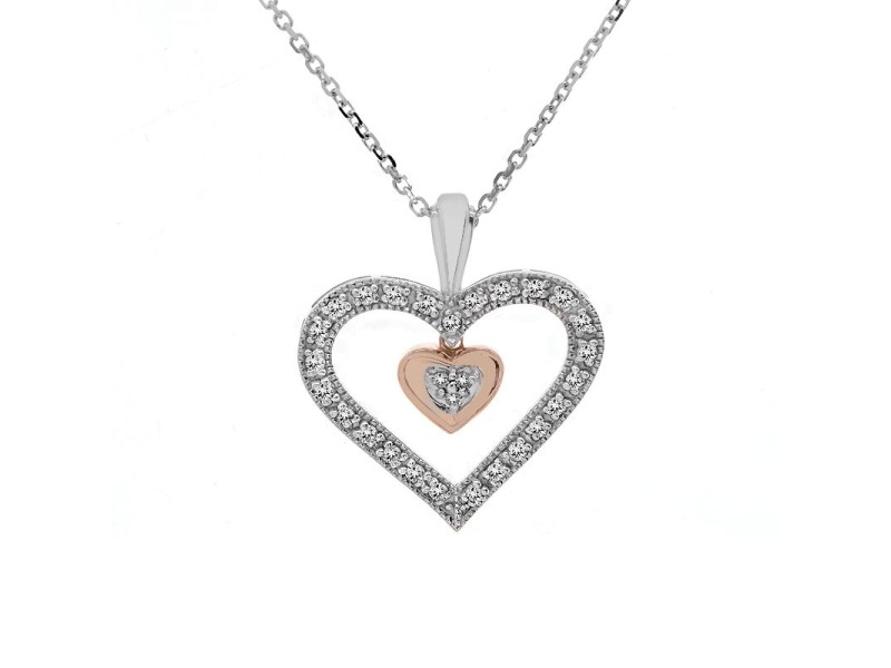 10K White and Yellow Gold 0.25 ct. Diamond Heart Pendant Necklace