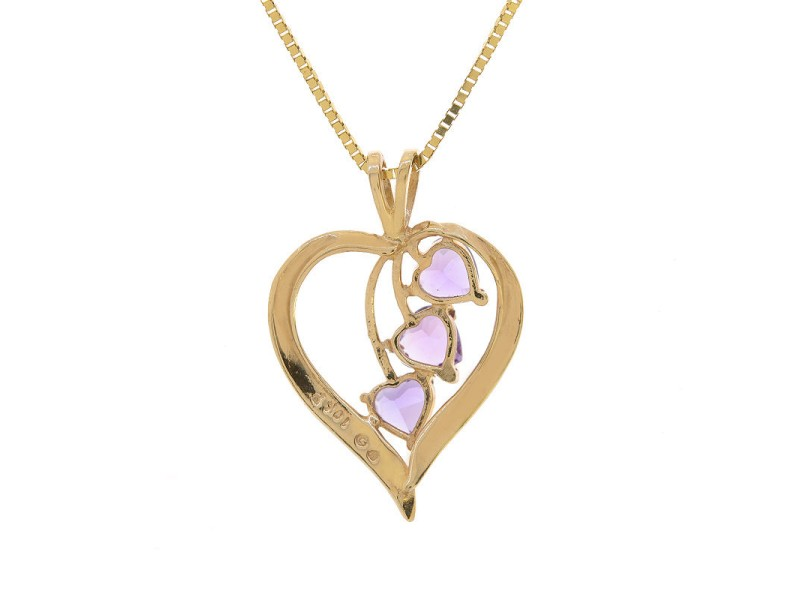 10K Yellow Gold 1.25 ct. Amethyst Gemstones Heart Pendant Necklace