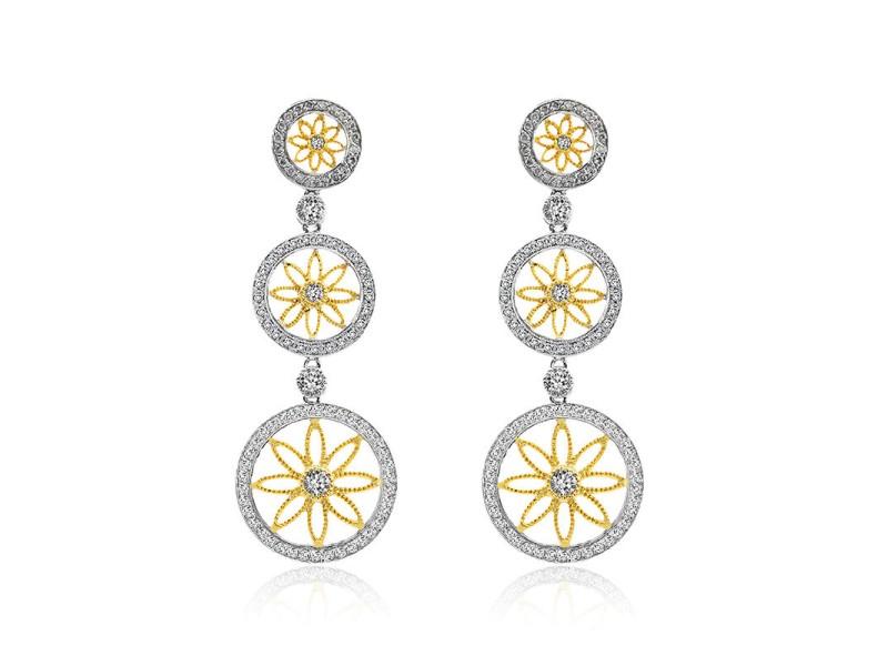 14K Two Tone Gold Diamond Circle Drop Earrings