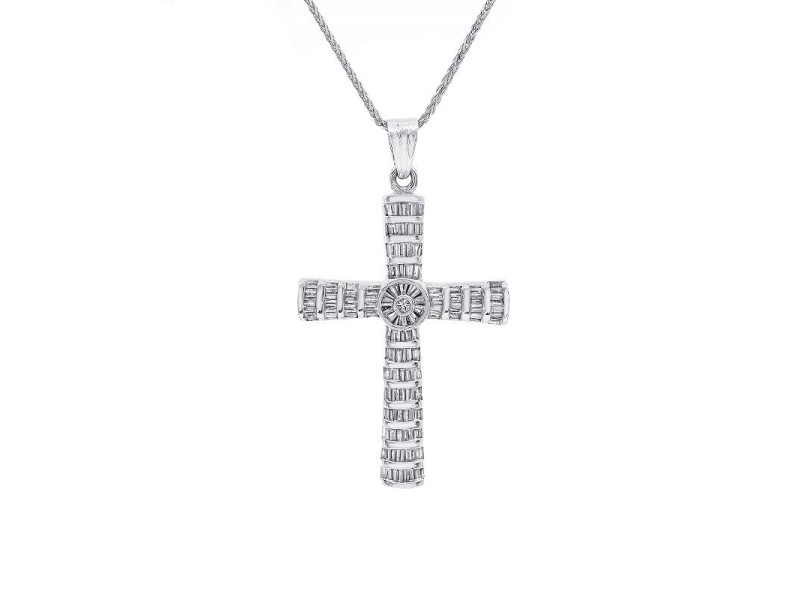 14K and 10K White Gold Baguette Diamonds Pendant Necklace