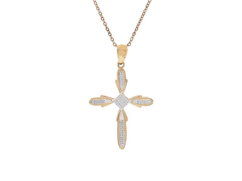 14K Yellow Gold Princess Cut Diamond Cross Pendant