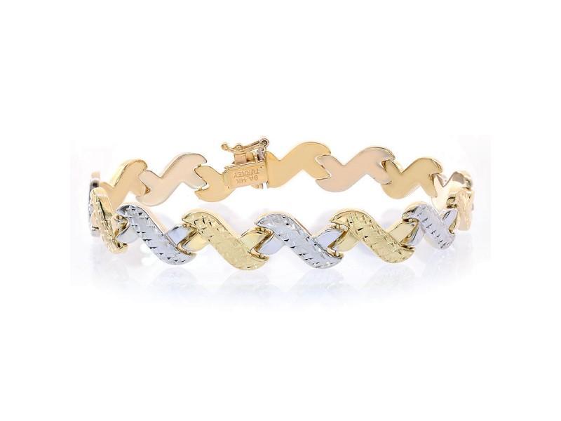 14K Two Tone Gold Fancy Diamond Cut Wave Link Bracelet
