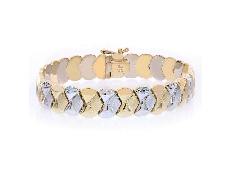 14K Two Tone Gold Fancy Link Diamond Cut Bracelet