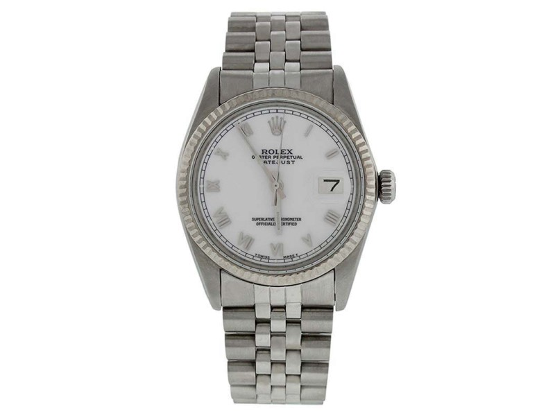 Rolex Datejust 16014 Stainless Steel  White Roman Dial 18K Gold Fluted Bezel Mens Watch