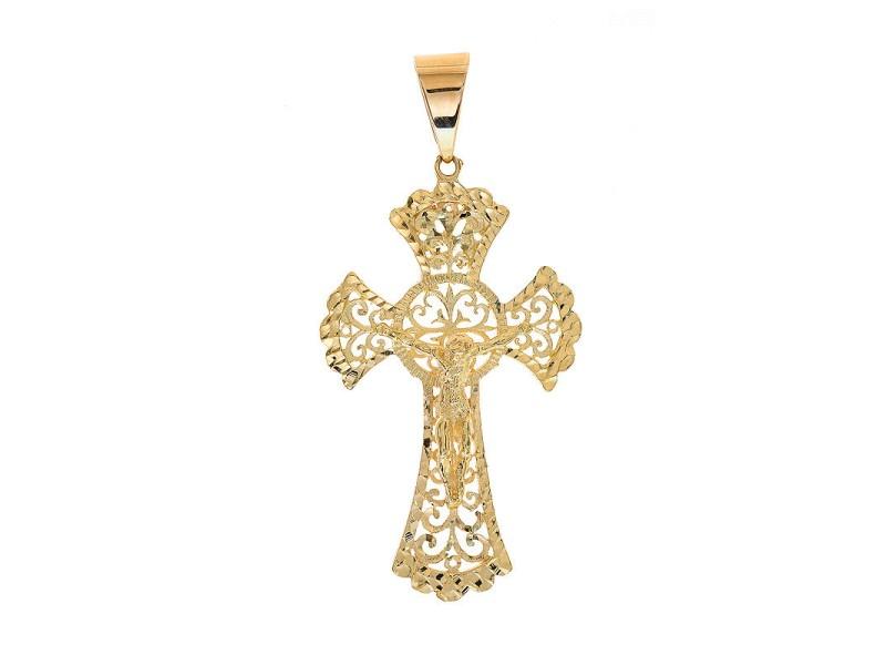 14K Yellow Gold Art Deco Jesus Crucifix Cross Pendant