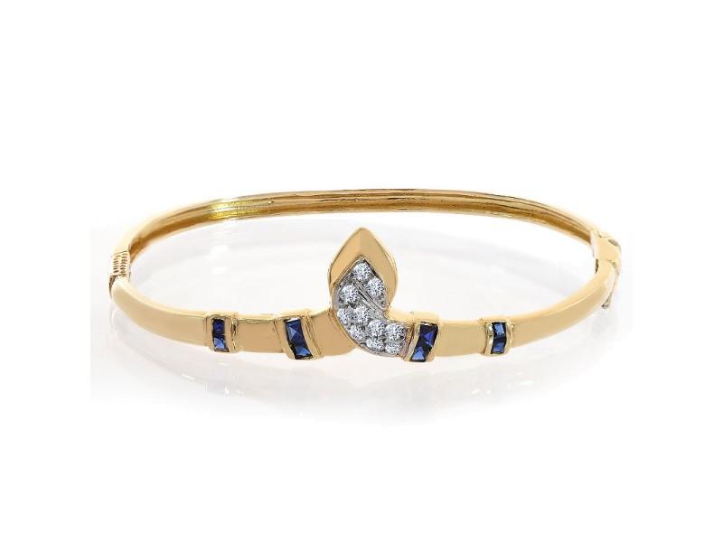14K Yellow Gold Sapphire and Diamond Bangle Bracelet
