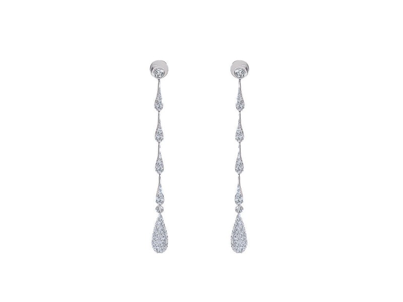14K White Gold Round Cut Diamond Teardrop Dangle Earrings