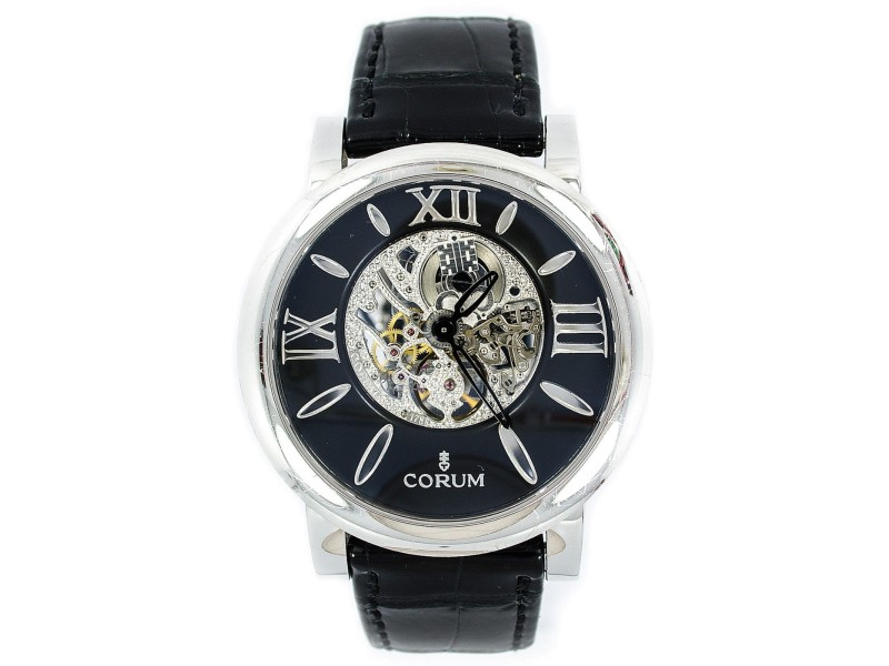 Corum 1756361 18K White Gold Original Leather Band Skeleton Back Automatic Mens Watch