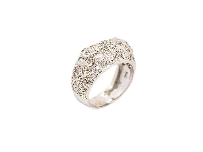18K White Gold Flower Design 1.28ct Pave Diamonds Ring