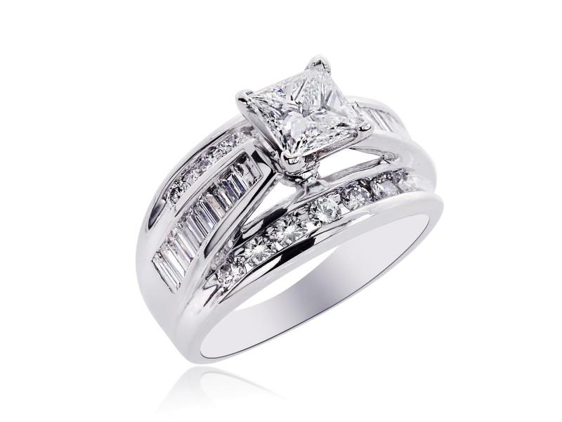 14K White Gold Natural Princess Cut Diamond Engagement Ring