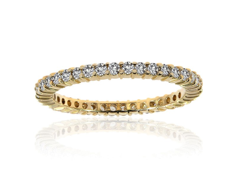14K Yellow Gold Round Brilliant Diamond Wedding Eternity Band in Ring