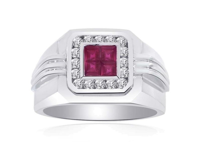 14K White Gold Diamonds and Princess Cut Rubies Ring