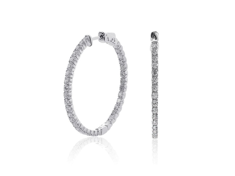 14K White Gold Inside Out 2.45ct Diamond Hoop Earrings