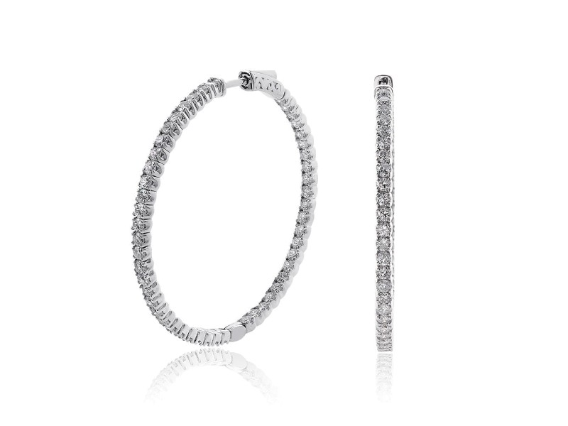 14K White Gold Inside Out 4.50ct Diamond Hoop Earrings