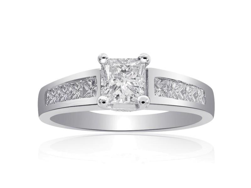14K White Gold Natural Princess Cut Diamond Ring