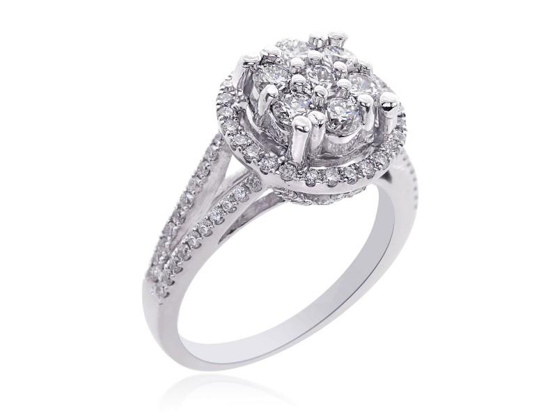 14K White Gold Round Cut Diamond Cluster Split Shank Ring