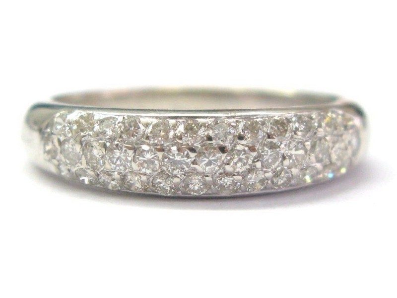 18K White Gold Round Cut .60 ct Diamond Pave Jewelry Band Ring