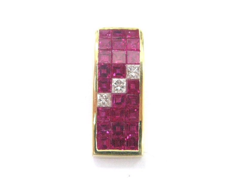 18K Yellow Gold Gem Ruby 1.35 ct. Diamond Pendant