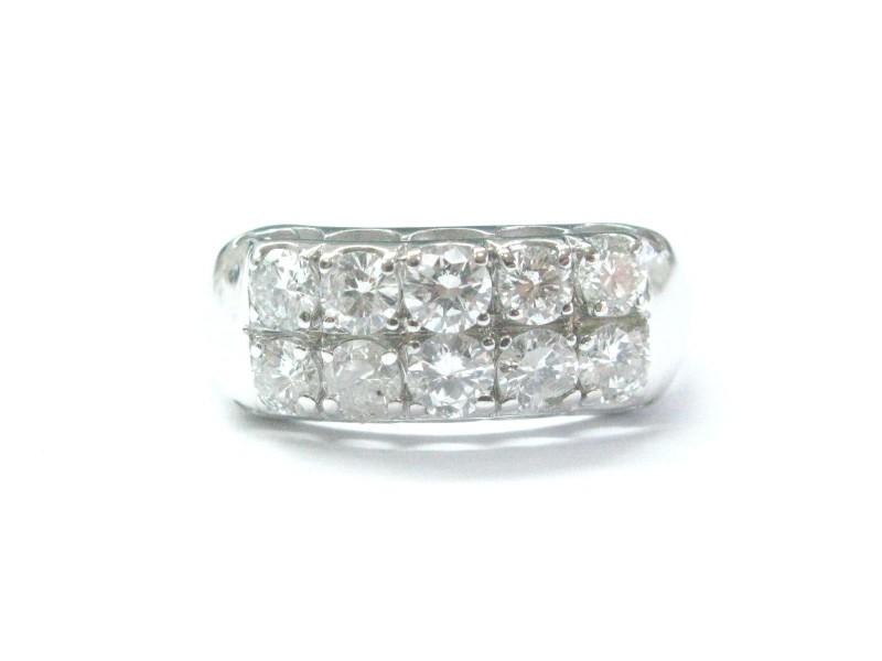 White Gold Fine 2-Row Round Cut 1.02 ct Diamond Jewelry Ring