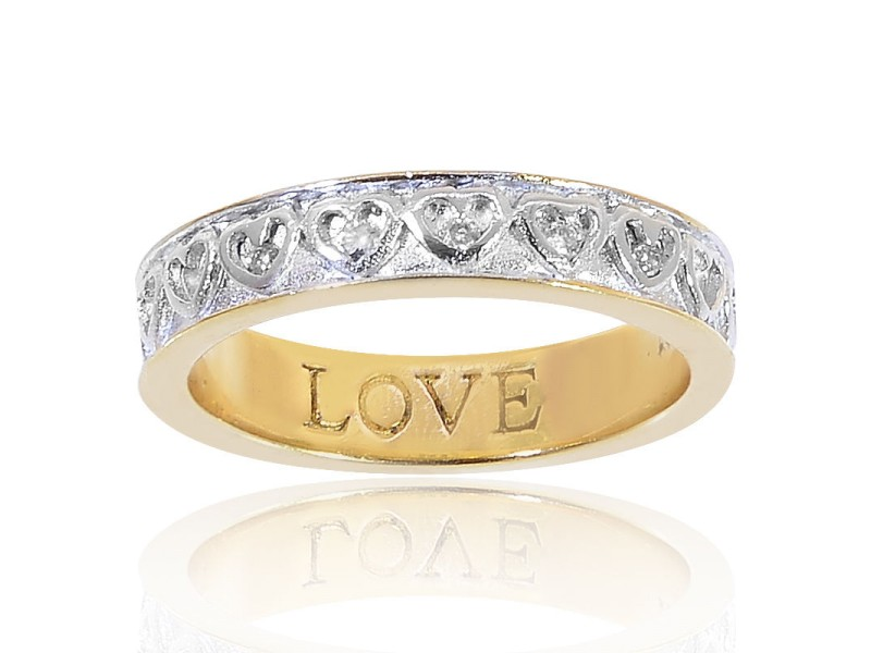 18K Yellow Gold Plated Sterling Silver Diamonds Ring