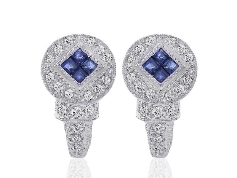 2e3197871 14K White Gold Diamond Blue Sapphire J-Hoop Earrings | Buy at TrueFacet