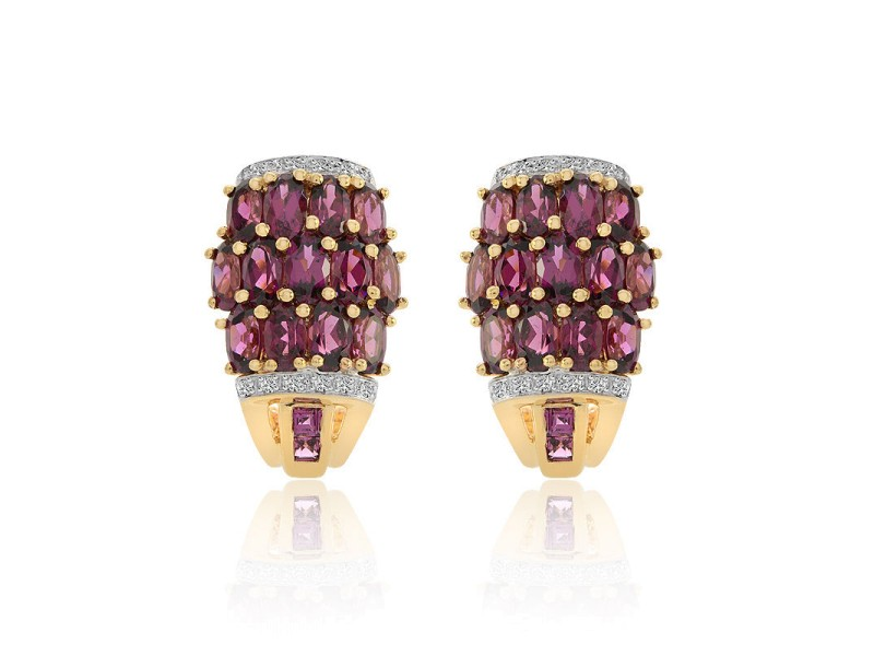 14K Yellow Gold Oval Cut Rhodolite with Diamond Earrings