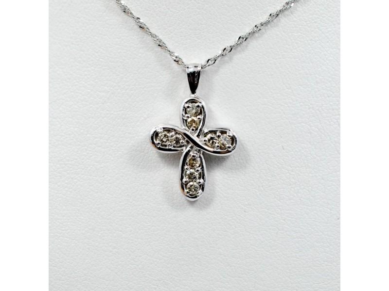 Clover Diamond Cross 0.46CT 14K White Gold